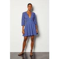 Karen Millen Cutwork Embroidered Dress, Blue