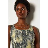 Karen Millen Viscose Snake Print Jersey Vest, Grey