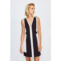 Karen Millen Colour Block Zip Front A-Line Dress, Mono