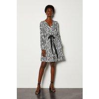 Karen Millen Zebra Print Wrap Dress, Black