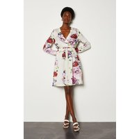 Karen Millen Floral Print Wrap Dress, White