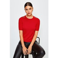 Karen Millen Short Sleeve Trim Detail Knitted Top, Red