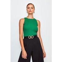 Karen Millen Knitted Rib Cut Away Vest Top, Green