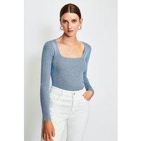 Karen Millen Scoop Neck Knitted Top, Blue
