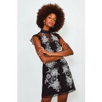 Karen Millen Cutwork Embroidered Mini Dress, Black