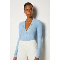 Karen Millen Plunge Button Knitted Jumper, Pale Blue