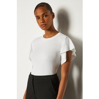 Karen Millen Ruffle Sleeve Knitted Top, White