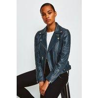 Karen Millen Leather Biker Jacket, Navy