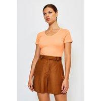 Karen Millen V- Neck Cotton T-Shirt, Orange