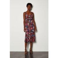Karen Millen Tropical Floral Print Summer Dress, Navy
