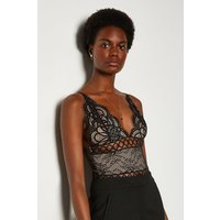 Karen Millen Sleeveless V-Neck Front Detail Lace Body, Black