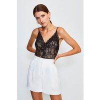 Karen Millen Strappy V-Neck Lace Body, Black