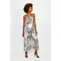Karen Millen Animal Print Tie Front Maxi Dress, Purple
