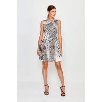 Karen Millen Animal Print Zip Front Short Dress, Brown