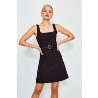 Karen Millen A-Line Cotton Sateen Dress, Black