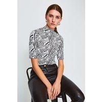 Karen Millen Short Sleeved Print Funnel Top, Black