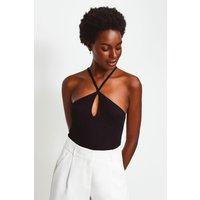 Karen Millen Jersey Strappy Halter Top, Black