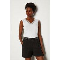 Karen Millen Lace Trim Vest, Ivory