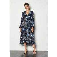 Karen Millen Dark Meadow Print Long Dress, Floral