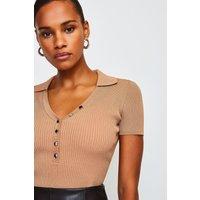 Karen Millen Rib Knitted Collar Top, Natural