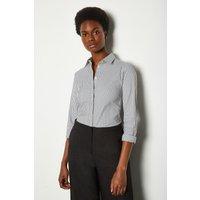 Karen Millen Black and White Stripe Long Sleeve Shirt, Blackwhite