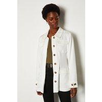Karen Millen Tencel Belted Safari Jacket, White