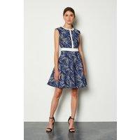 Karen Millen Panelled Jacquard Pop On Dress, Blue