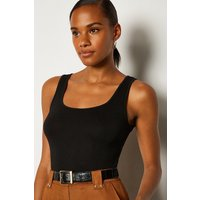 Karen Millen Square Neck Bodysuit, Black