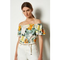 Karen Millen Cotton Floral Bardot Top, Yellow