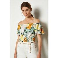 Karen Millen Cotton Floral Bardot Top, Yellow