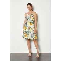 Karen Millen Cotton Floral Strappy Dress, Yellow