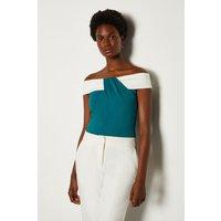 Karen Millen Ponte Bardot Contrast Top, Blue