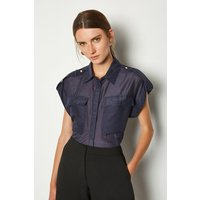 Karen Millen Silk Sleeveless Shirt With Pockets, Navy