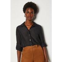 Karen Millen Plain Silk Cotton Shirt, Black