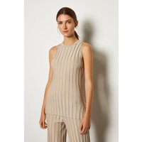 Karen Millen Wide Rib Knit Sleeveless Top, Brown