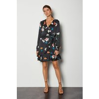 Karen Millen Wrap Front Long Sleeve Mini Dress, Multi