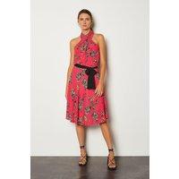 Karen Millen Floral Halter Tie Waist Dress, Navy