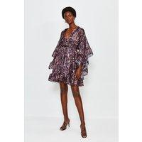Karen Millen Fluted Sleeve Wrap Short Dress, Navy