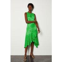 Karen Millen Jacquard Sleeveless Dress, Green