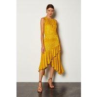 Karen Millen Jacquard Sleeveless Dress, Yellow