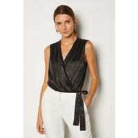 Karen Millen Satin Sleeveless Bodysuit, Black