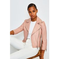 Karen Millen Shrunken Leather Biker Jacket, Pink