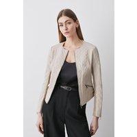 Karen Millen Leather Quilted Biker Jacket -, Cream