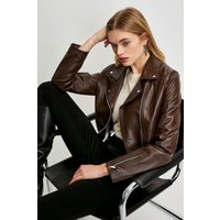 Karen Millen Leather Signature Biker Jacket -, Brown