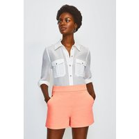 Karen Millen Safari Cotton Sateen Short, Orange