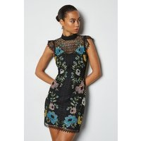 Cutwork Floral Lace Mini Dress Black, Black