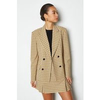 Karen Millen Shadow Check Double Breasted Jacket, Yellow