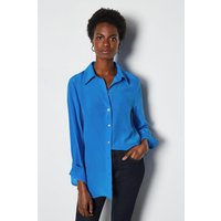 Silk Straight Fit Shirt Cobalt, Blue