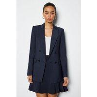 Luxe Wool Blend Suit Jacket Navy, Navy