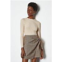 Karen Millen Tailored Check Wrap Mini Skirt, Multi